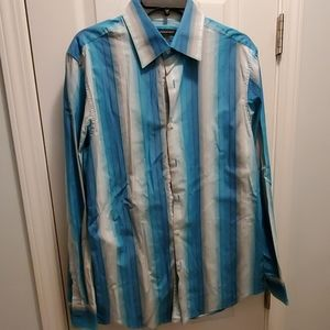 Men's Blue Striped Button Down Shirt (size Medium)